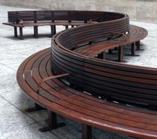 curved wood bench